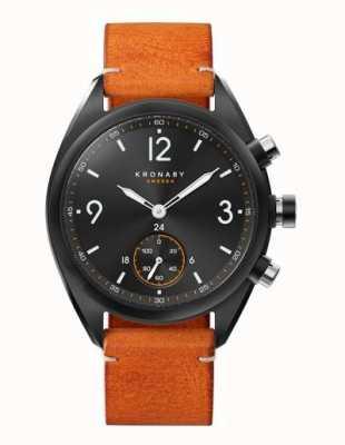 Kronaby Mens Apex 41 Bluetooth schwarzes Zifferblatt, braunes Leder A1000-3116 S3116/1