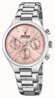 Festina Womens Boyfriend Chronograph Edelstahl rosa Zifferblatt F20391/2
