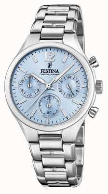 Festina Womens Boyfriend Chronograph Edelstahl blaues Zifferblatt F20391/3