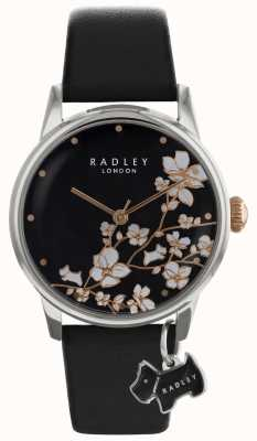 Radley Damen | Blumendruck | schwarzes Zifferblatt | Lederriemen RY2687