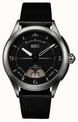 REC Spitfire automatisches schwarzes Lederband RJM-01