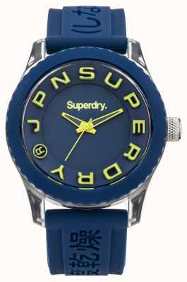 Superdry Tokyo | blaues Silikonband | blaues und gelbes Zifferblatt SYL146UA