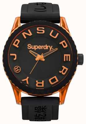Superdry Tokyo | schwarzes Silikonband | schwarzes Zifferblatt | orange Akzente SYG145BOA