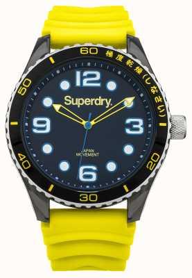 Superdry Gelbes Silikonband | schwarzes Zifferblatt | blaue Akzente SYG163YA
