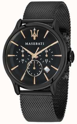Maserati Epoca für Männer 42mm | schwarzes Zifferblatt | schwarzes Mesh-Armband R8873618006