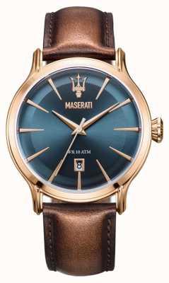 Maserati Mens epoca 42mm | blaues Zifferblatt | braunes Lederband R8851118001