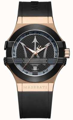 Maserati Mens Potenza Analog | schwarzes Zifferblatt | schwarzes Lederarmband R8851108002