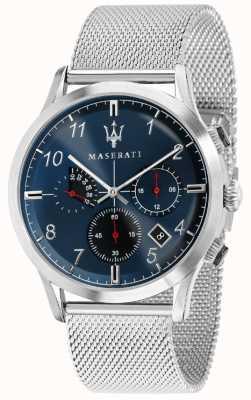 Maserati Herren Ricordo 42mm | blaues Zifferblatt | Edelstahlarmband R8873625003