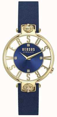 Versus Versace Frauen Kirstenhof | blau / weißes Zifferblatt | blaues Lederband VSP490218