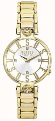 Versus Versace Frauen Kristenhof | Silbernes Zifferblatt | Gold-Edelstahl VSP490618