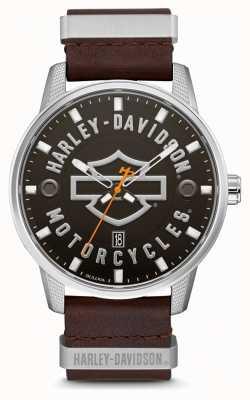 Harley Davidson Herren braunes Lederarmband hd mit Zifferblatt 76B178
