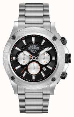 Harley Davidson Herrenchronograph | schwarzes Zifferblatt | Silber Edelstahl 78B126