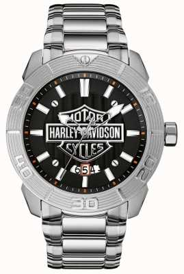 Harley Davidson Herrenarmband aus Edelstahl | schwarzes Zifferblatt 76B169