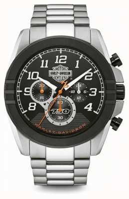 Harley Davidson Herrenchronograph | schwarzes Zifferblatt | zweifarbiger Edelstahl 76B175