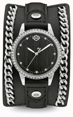 Harley Davidson Damen aus der Kettenmanschettenkollektion | schwarzes Lederarmband 76L184