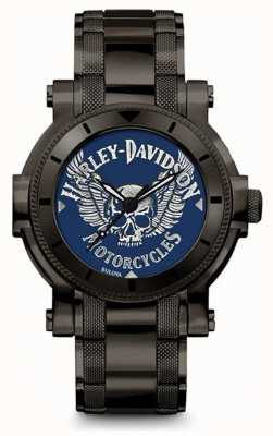 Harley Davidson Männer für ihn | schwarzes Edelstahlarmband | blaues Zifferblatt 78A117