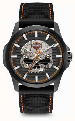 Harley Davidson Männer willie g Schädel | schwarzes Zifferblatt | schwarzes Silikonband 78A118