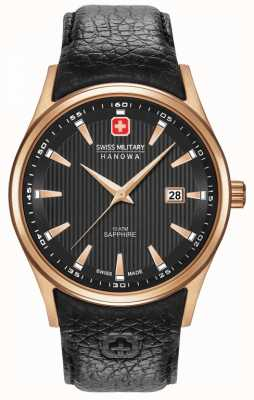 Swiss Military Hanowa Mens | roségold | schwarzes Armband 06-4286.09.007