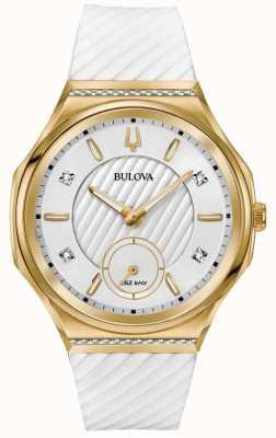 Bulova Damen Armband mit geschwungenen Diamanten, vergoldet und weiß 98R237