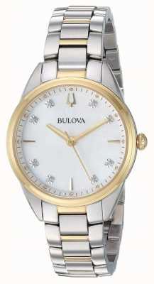 Bulova Diamant-Perlmutt-Zweifarbenkoffer für Frauen 98P184