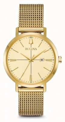 Bulova Klassisches vergoldetes Mesh-Armband für Frauen 97M115