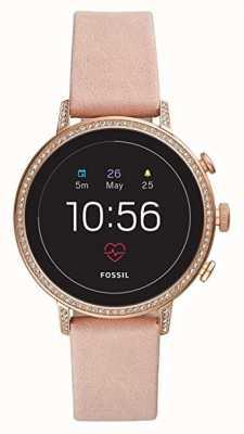 Fossil Verbundenes q Venture HR Smart Watch erröten Leder Stein gesetzt FTW6015