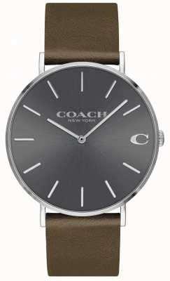 Coach Herren charles | braunes Lederarmband | graues Zifferblatt 14602153