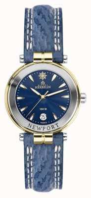 Michel Herbelin Damen Newport Blue Strap vergoldet 14255/T35