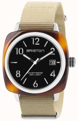 Briston Hms date steel 40 tortoise acetat schwarzes zifferblatt 13240.SA.T.1.NK
