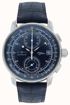Zeppelin | Serie 100 Jahre | chronograph datum | blaues Leder | 8670-3