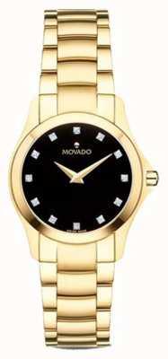 Movado | moisan Uhr der Frauen | Goldton | schwarzes Zifferblatt | 0607028