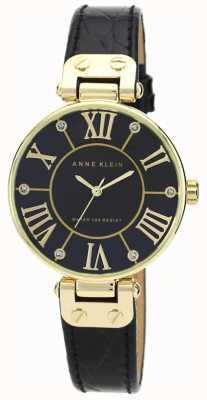 Anne Klein | Damen-Signaturuhr | schwarz und gold | AK-N1396BMBK