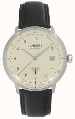 Junkers Bauhaus cremefarbenes Zifferblatt braune Lederbanduhr 6046-5