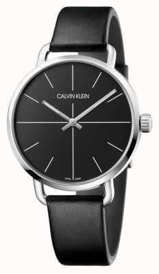 Calvin Klein | Männer sehen sogar | schwarzes Lederarmband | schwarzes Zifferblatt | K7B211CZ