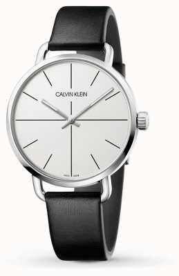 Calvin Klein   auch Erweiterungsuhr   schwarzes Lederarmband   weißes Zifferblatt   K7B211CY