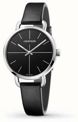 Calvin Klein   auch Erweiterungsuhr   schwarzes Lederarmband   schwarzes Zifferblatt   K7B231CZ