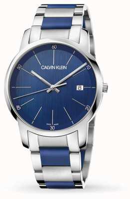 Calvin Klein | Herrenstadterweiterung | zweifarbiger Edelstahl | blaues Zifferblatt K2G2G1VN