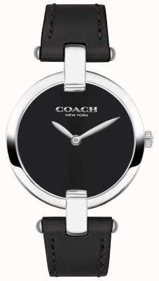 Coach | Damenuhr chrystie | schwarzes Leder und Stahl | 14503091