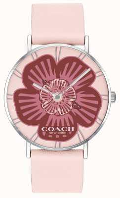 Coach | Damen-Armbanduhr | rosa Lederband | florales Zifferblatt | 14503231