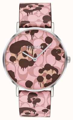 Coach | Damen-Armbanduhr | rosa Lederband Blumenmuster | 14503246