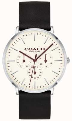 Coach | Herren Varick Uhr | schwarzes Lederband weißes Zifferblatt | 14602387