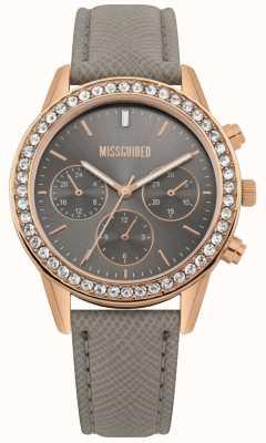 Missguided | Damenuhr | graues Lederband roségoldes Gehäuse | MG002ERG