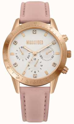 Missguided | damenuhr | rosa Lederband | MG004PRG