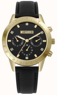 Missguided | Damenuhr | schwarzes leder gold gehäuse | MG004BG