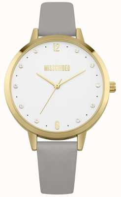 Missguided | Damenuhr | graues Lederband goldenes Gehäuse | MG010EG