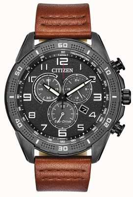 Citizen Mens Drive Ar Eco-Drive schwarz IP braun Lederuhr AT2447-01E