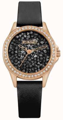 Missguided | schwarzes Lederarmband für Damen | schwarzes kristall zifferblatt | MG013BRG