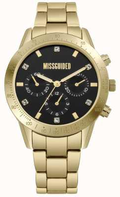 Missguided | Damen Gold Edelstahl | schwarzes Zifferblatt | Chronograph | MG004GM