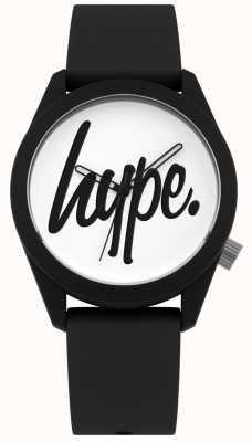 Hype | schwarzes Silikonband | weißes Zifferblatt | HYU001B