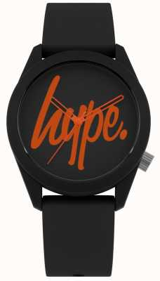 Hype | schwarzes Silikonband | schwarzes und oranges Zifferblatt | HYU001BO